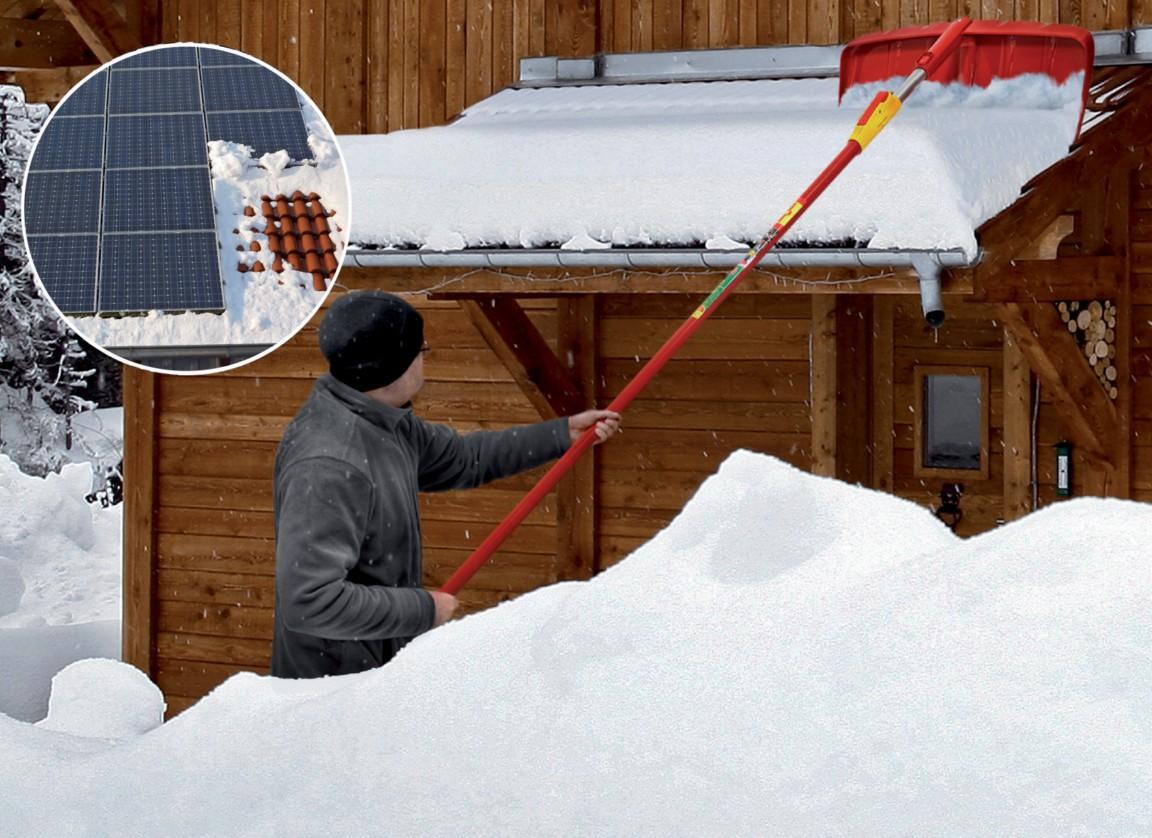 úklid sněhu ze střechy